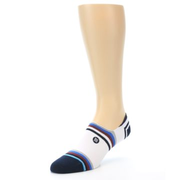 Image of White Black Blue Stripe Men's Liner Socks (side-2-front-08)