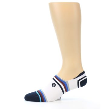 Image of White Black Blue Stripe Men's Liner Socks (side-2-11)