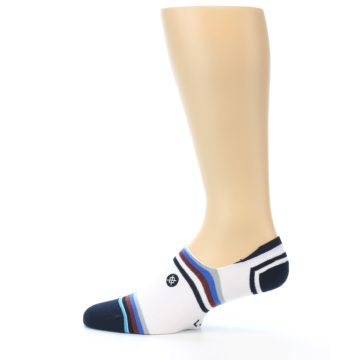 Image of White Black Blue Stripe Men's Liner Socks (side-2-12)