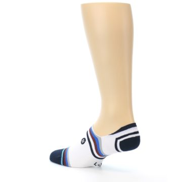 Image of White Black Blue Stripe Men's Liner Socks (side-2-back-14)