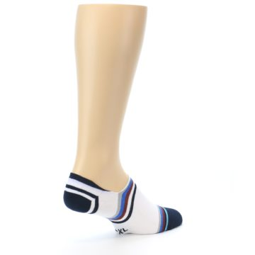 Image of White Black Blue Stripe Men's Liner Socks (side-1-back-22)