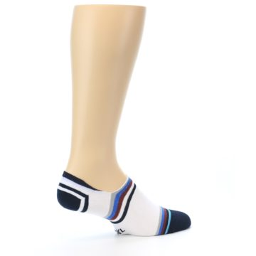 Image of White Black Blue Stripe Men's Liner Socks (side-1-23)
