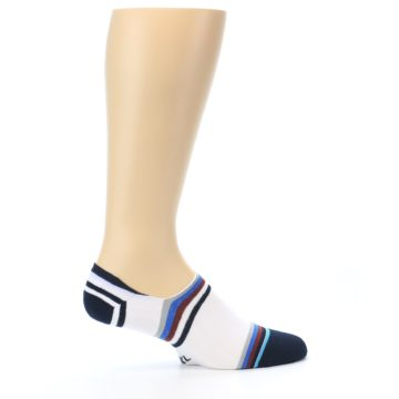 Image of White Black Blue Stripe Men's Liner Socks (side-1-24)