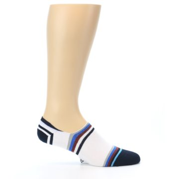 Image of White Black Blue Stripe Men's Liner Socks (side-1-25)