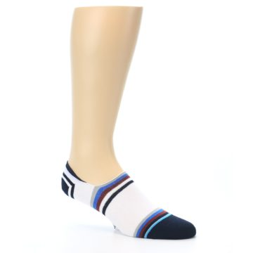 Image of White Black Blue Stripe Men's Liner Socks (side-1-26)
