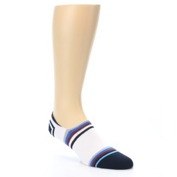 Image of White Black Blue Stripe Men's Liner Socks (side-1-27)
