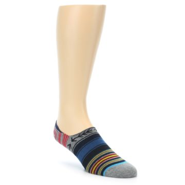 Image of Navy Blue Grey Stripe Men's Liner Socks (side-1-front-01)