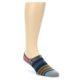 Image of Navy Blue Grey Stripe Men's Liner Socks (side-1-front-01)