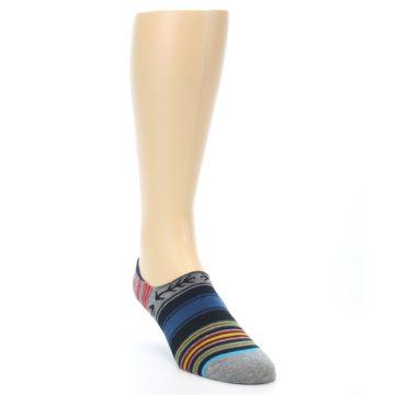 Image of Navy Blue Grey Stripe Men's Liner Socks (side-1-front-02)