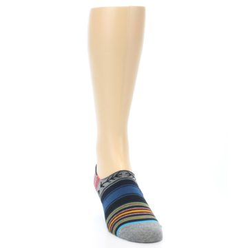 Image of Navy Blue Grey Stripe Men's Liner Socks (side-1-front-03)