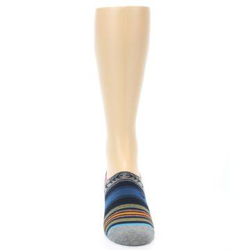 Image of Navy Blue Grey Stripe Men's Liner Socks (front-04)