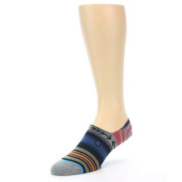 Image of Navy Blue Grey Stripe Men's Liner Socks (side-2-front-08)