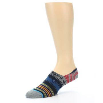 Image of Navy Blue Grey Stripe Men's Liner Socks (side-2-09)