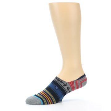 Image of Navy Blue Grey Stripe Men's Liner Socks (side-2-10)