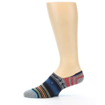 Image of Navy Blue Grey Stripe Men's Liner Socks (side-2-11)