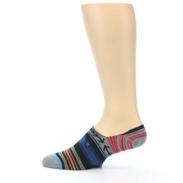 Image of Navy Blue Grey Stripe Men's Liner Socks (side-2-12)