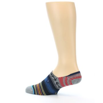 Image of Navy Blue Grey Stripe Men's Liner Socks (side-2-13)