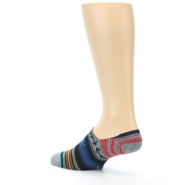 Image of Navy Blue Grey Stripe Men's Liner Socks (side-2-back-14)