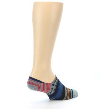 Image of Navy Blue Grey Stripe Men's Liner Socks (side-1-back-22)