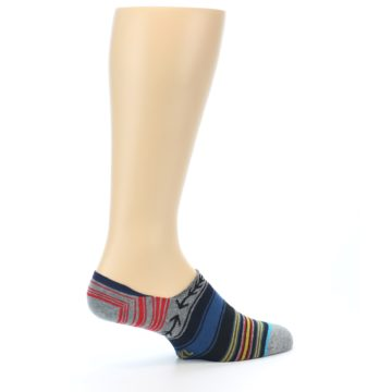 Image of Navy Blue Grey Stripe Men's Liner Socks (side-1-23)
