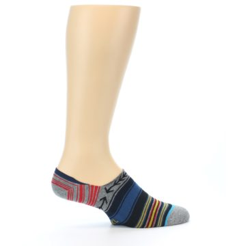 Image of Navy Blue Grey Stripe Men's Liner Socks (side-1-24)