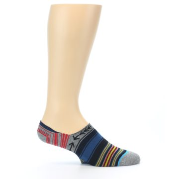 Image of Navy Blue Grey Stripe Men's Liner Socks (side-1-25)