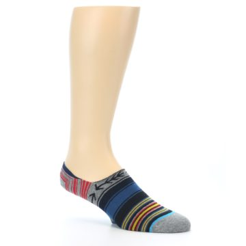 Image of Navy Blue Grey Stripe Men's Liner Socks (side-1-26)