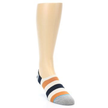 Image of Orange Black White Stripe Men's Liner Socks (side-1-front-02)