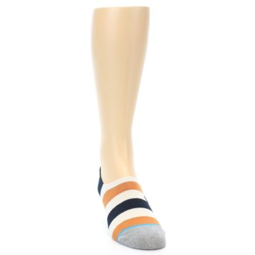 Image of Orange Black White Stripe Men's Liner Socks (side-1-front-03)