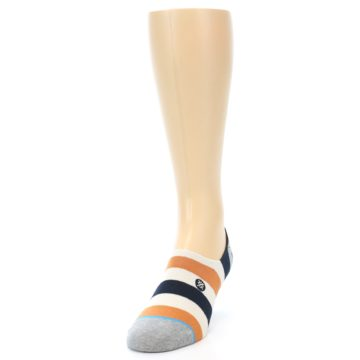 Image of Orange Black White Stripe Men's Liner Socks (side-2-front-06)