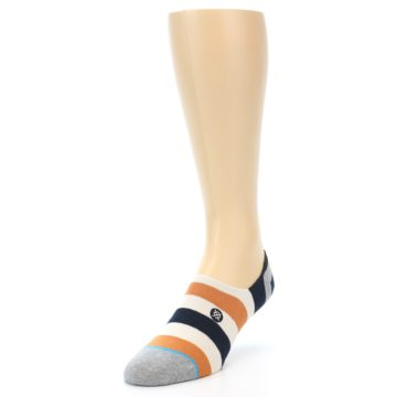 Image of Orange Black White Stripe Men's Liner Socks (side-2-front-07)