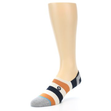 Image of Orange Black White Stripe Men's Liner Socks (side-2-front-08)