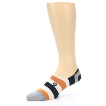 Image of Orange Black White Stripe Men's Liner Socks (side-2-09)