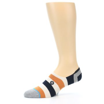 Image of Orange Black White Stripe Men's Liner Socks (side-2-10)