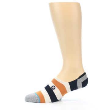 Image of Orange Black White Stripe Men's Liner Socks (side-2-11)