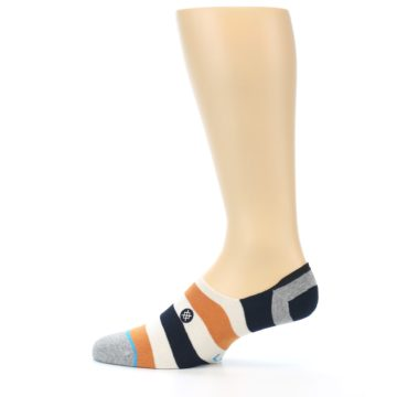 Image of Orange Black White Stripe Men's Liner Socks (side-2-12)