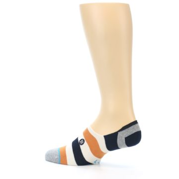 Image of Orange Black White Stripe Men's Liner Socks (side-2-13)
