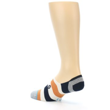 Image of Orange Black White Stripe Men's Liner Socks (side-2-back-14)
