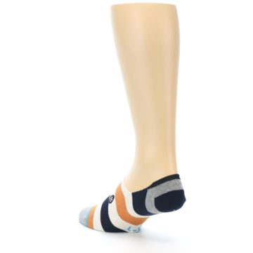 Image of Orange Black White Stripe Men's Liner Socks (side-2-back-15)