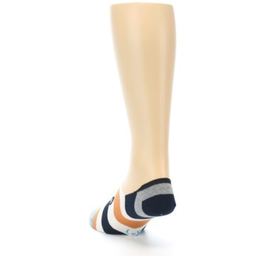 Image of Orange Black White Stripe Men's Liner Socks (side-2-back-16)