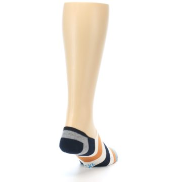 Image of Orange Black White Stripe Men's Liner Socks (side-1-back-20)
