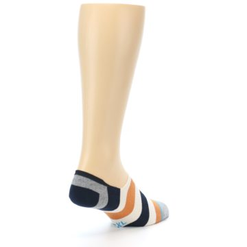 Image of Orange Black White Stripe Men's Liner Socks (side-1-back-21)