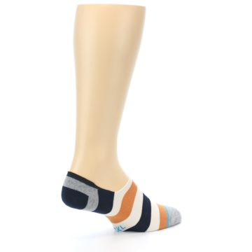 Image of Orange Black White Stripe Men's Liner Socks (side-1-back-22)