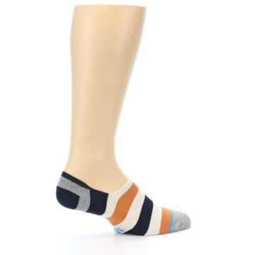 Image of Orange Black White Stripe Men's Liner Socks (side-1-23)