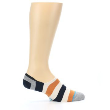 Image of Orange Black White Stripe Men's Liner Socks (side-1-24)