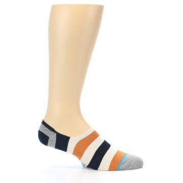 Image of Orange Black White Stripe Men's Liner Socks (side-1-25)