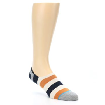 Image of Orange Black White Stripe Men's Liner Socks (side-1-27)