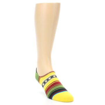 Image of Yellow Red Green Stripe Men's Liner Socks (side-1-front-02)