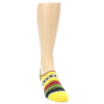 Image of Yellow Red Green Stripe Men's Liner Socks (side-1-front-03)
