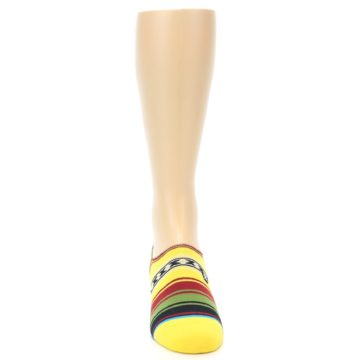 Image of Yellow Red Green Stripe Men's Liner Socks (front-04)